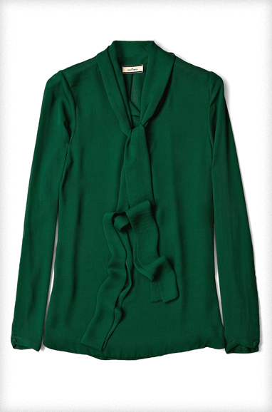 Peacock Green Hania Tie Neck Blouse