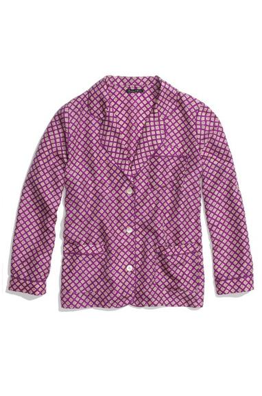 Silk Pajama Top In Diamond Stamp