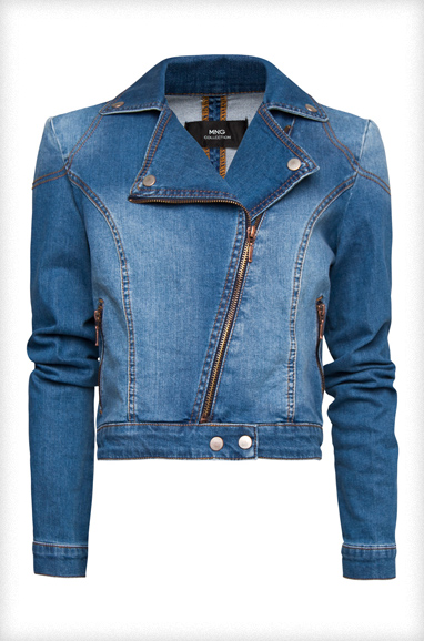 Washed Denim Biker Jacket