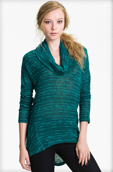 Splendid Stripe Cowl Neck Sweater